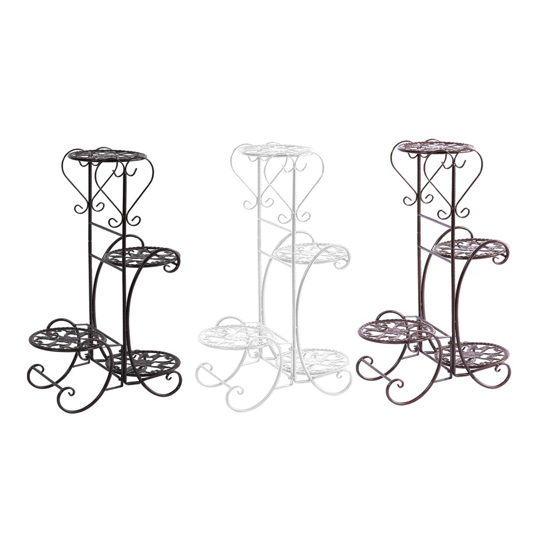 Plant Stand Outdoor Indoor Metal Pot Shelf Garden Decor Flower Rack Wrought Iron