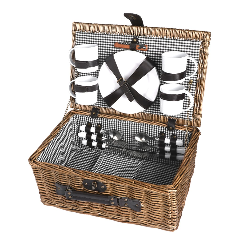 4 Person Picnic Basket Baskets Set Outdoor Deluxe Willow Gift Storage Carry Trip