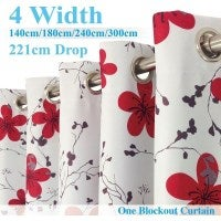 Single Panel Eyelet Block Out Curtain Red & Floral