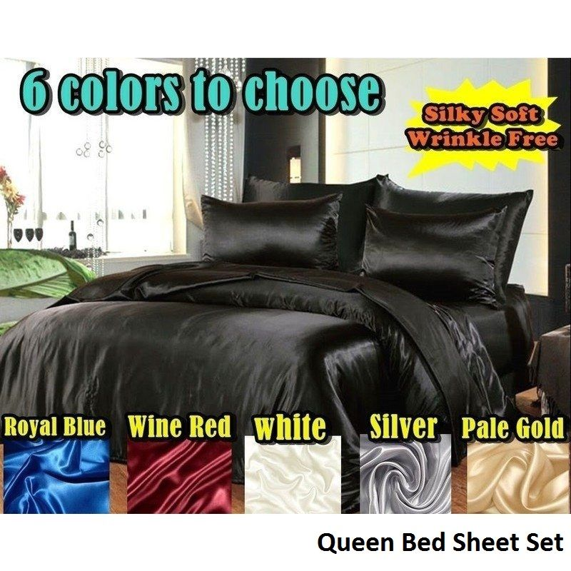 Queen Hotel Quality Satin Bed Sheets, Queen Size Satin Bed Sheets
