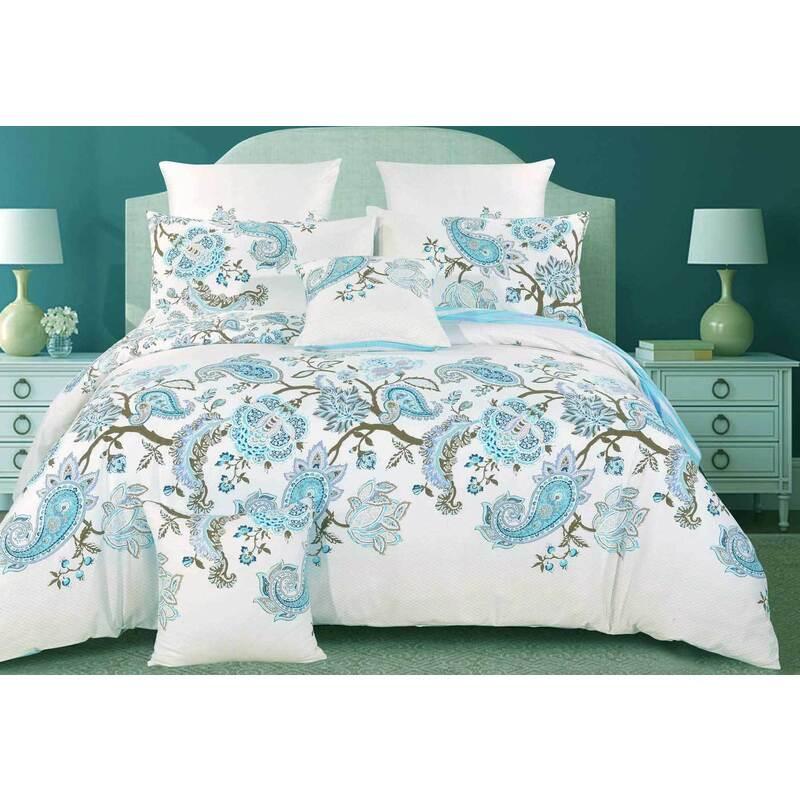 Cotton Blue Paisley Quilt Cover Set /Acc (Multiple Options)