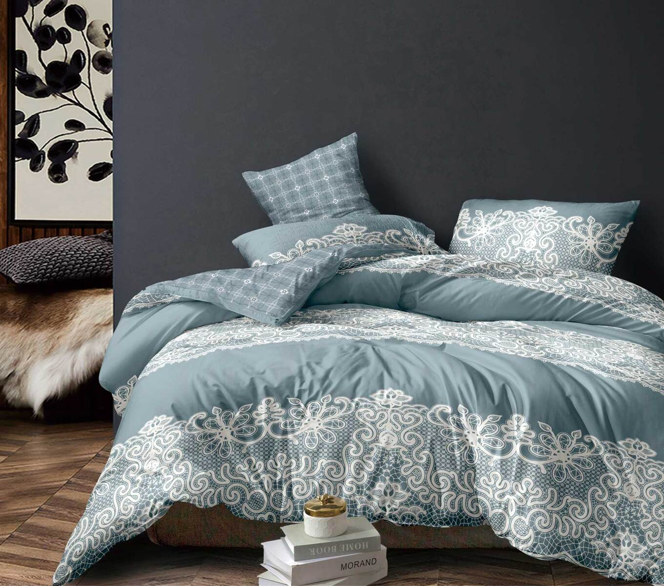Ramsey Floral Duck Egg Blue Quilt Cover Set ( Single / Double / Queen / King size )