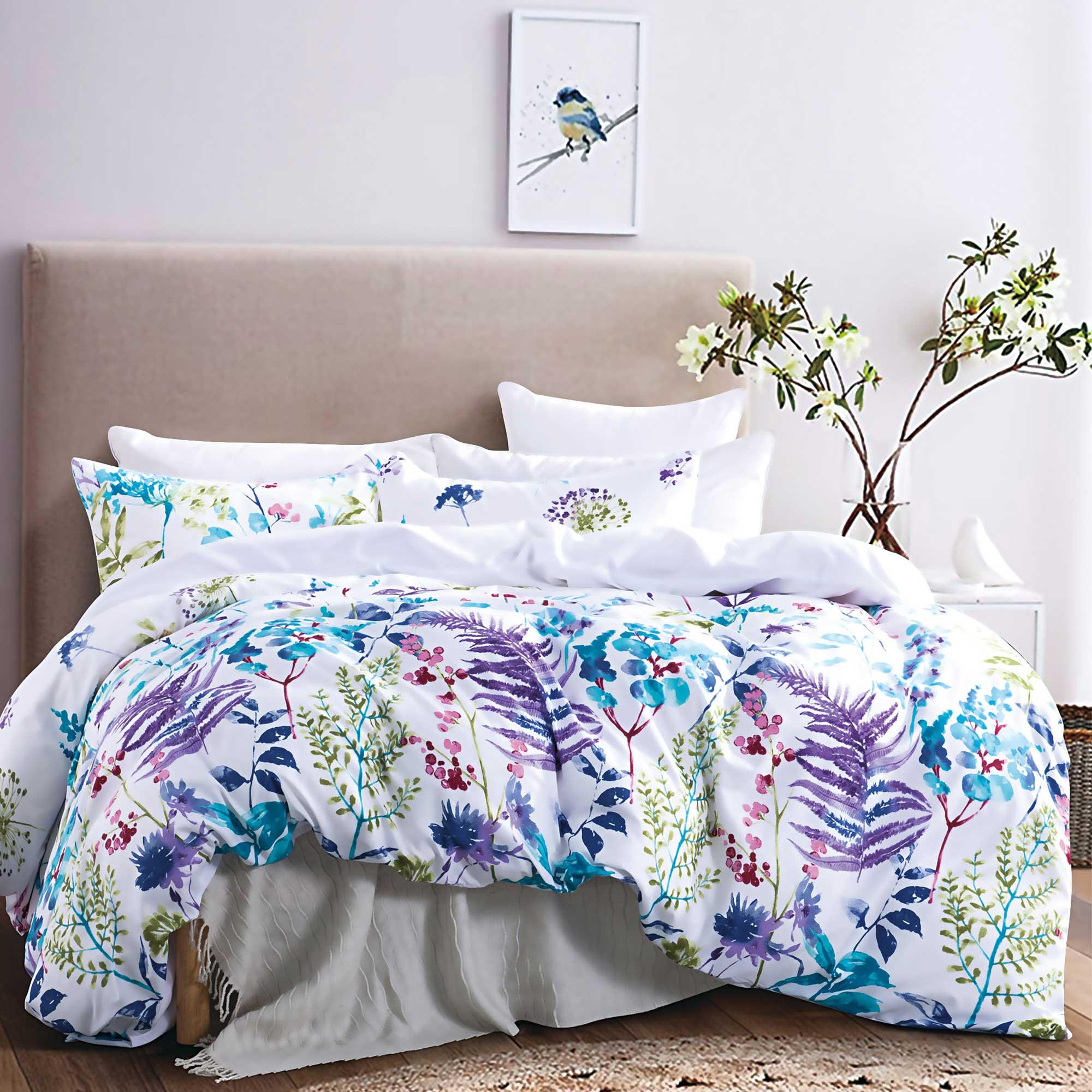 Turquoise Blue Purple Botanical Flower Leaf Quilt Cover Set ( Queen / King / Super King size)