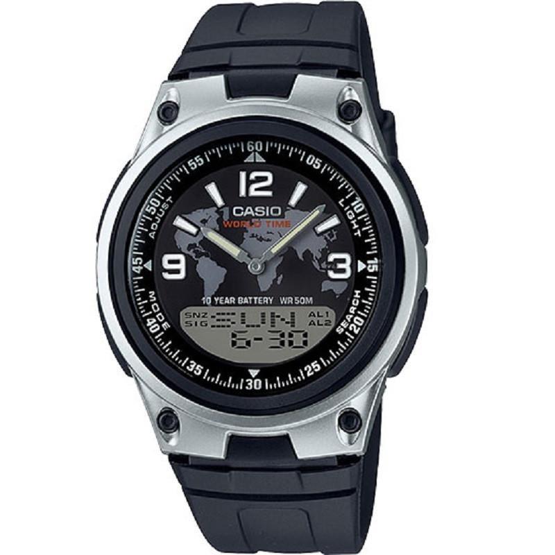 Casio AW-80-1A2V Black Silver-Tone Digital Analog Sports Watch