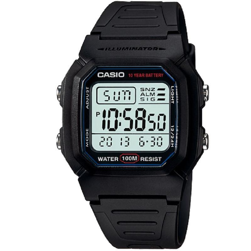 Casio W-800H-1A Black Dual Time Unisex 100m Digital Sports Watch