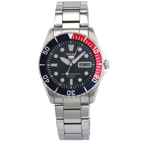 Seiko 5 Sports SNZF15 J1 Dark Blue Dial Stainless Steel Men's Automatic Analog Watch