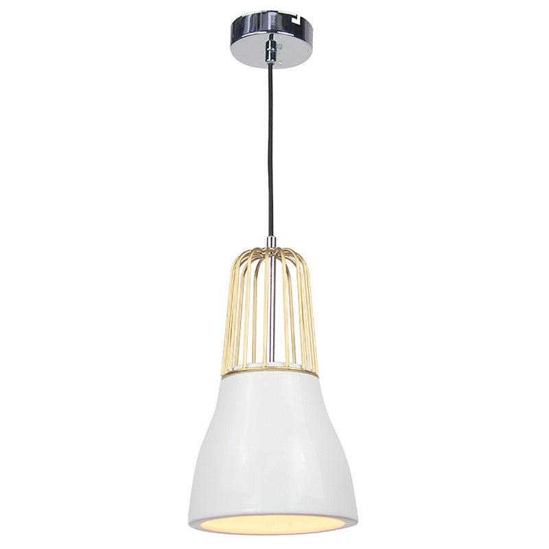 Pendant Light Metal Porcelain - White Brass - Luminite