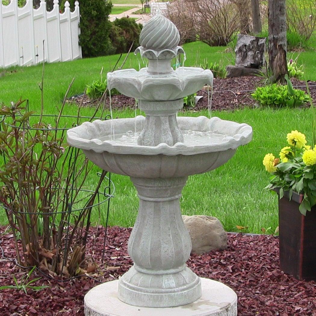 Solar Powered 2-Tier Bird Bath Water Fountain