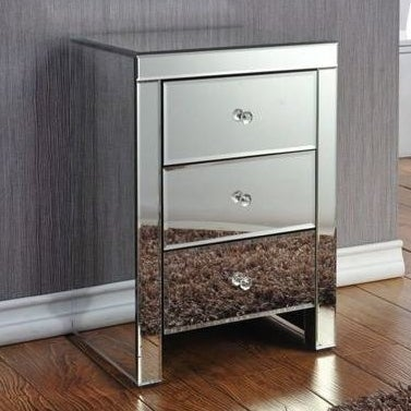 Downey 3 Drawer Mirrored Bedside Table in Silver