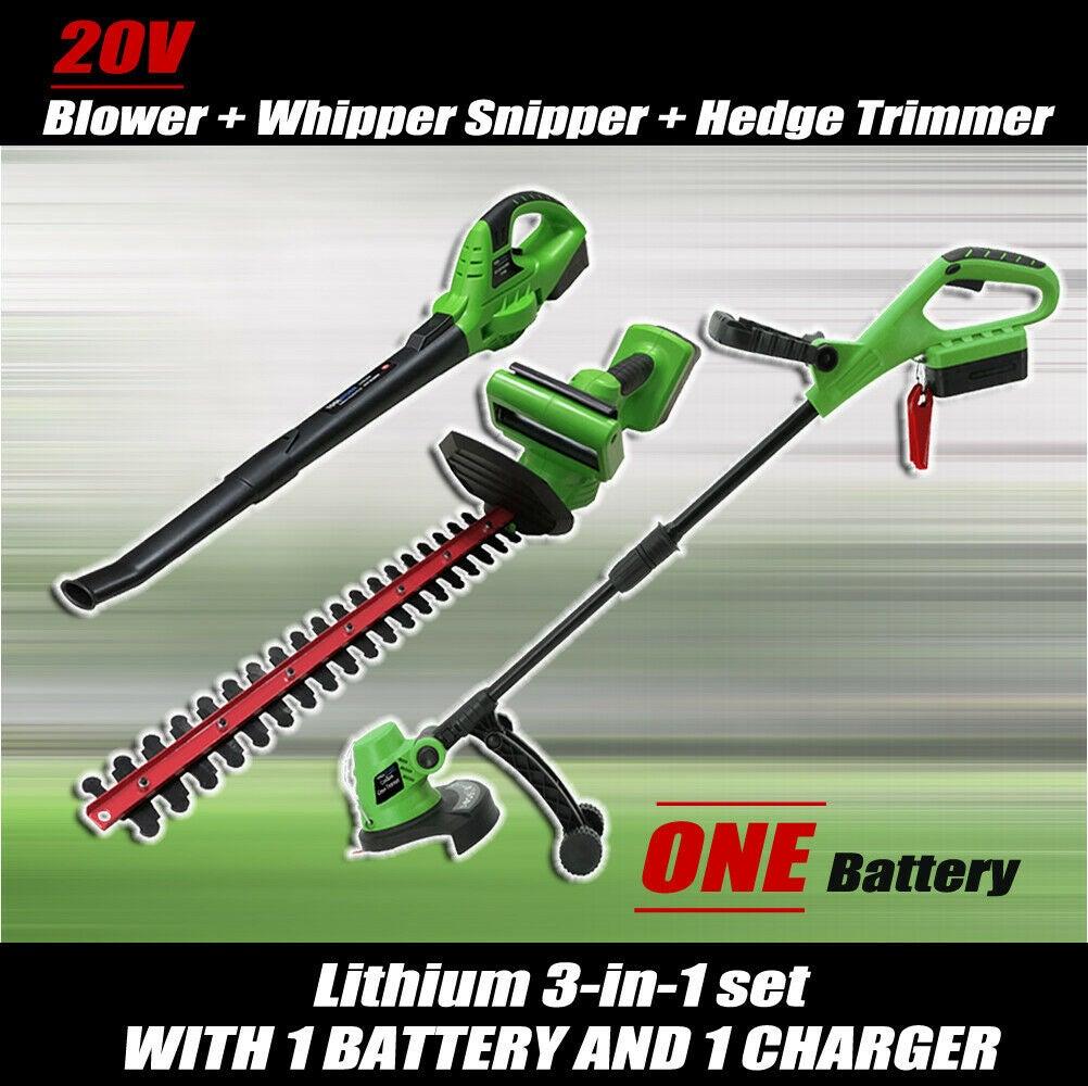 20V Lithium Cordless Leaf Blower Snipper Grass Hedge Trimmer Garden Tool Set