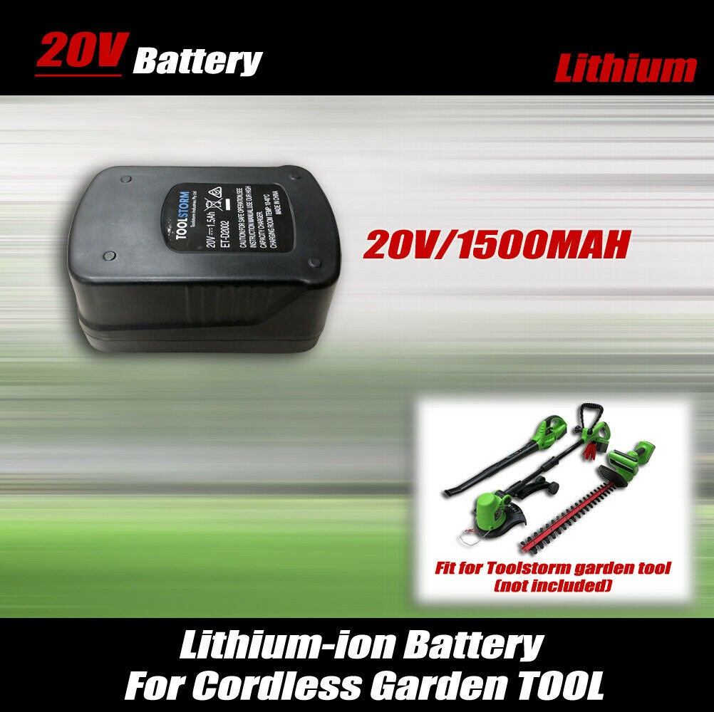 Lithium ion Battery Only 20V 1.5Ah For TOOLSTORM Leaf Blower,Grass,Hedge Trimmer