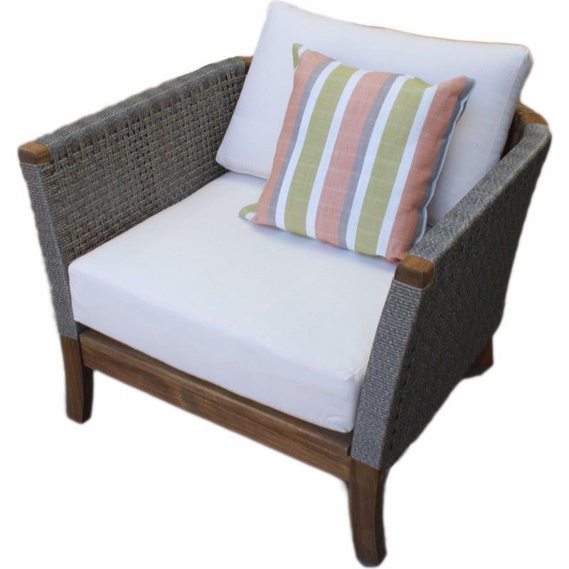 European Outdoor Wicker & Wood Armchair w/ Cushion