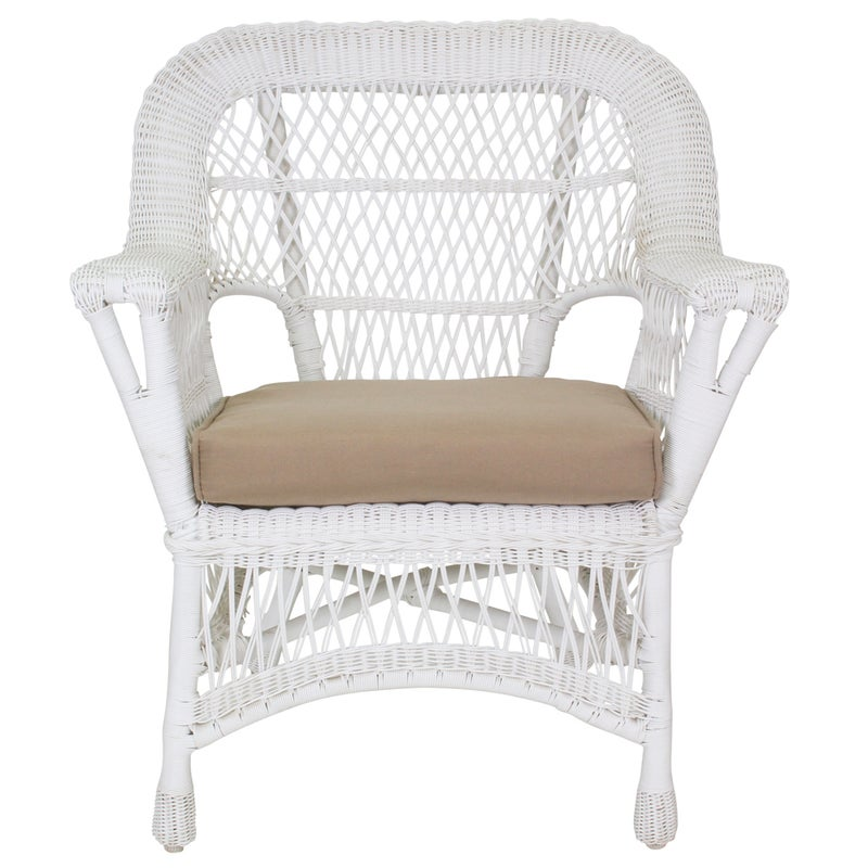 All Weather Wicker Paradiso White Patio Armchair With ...