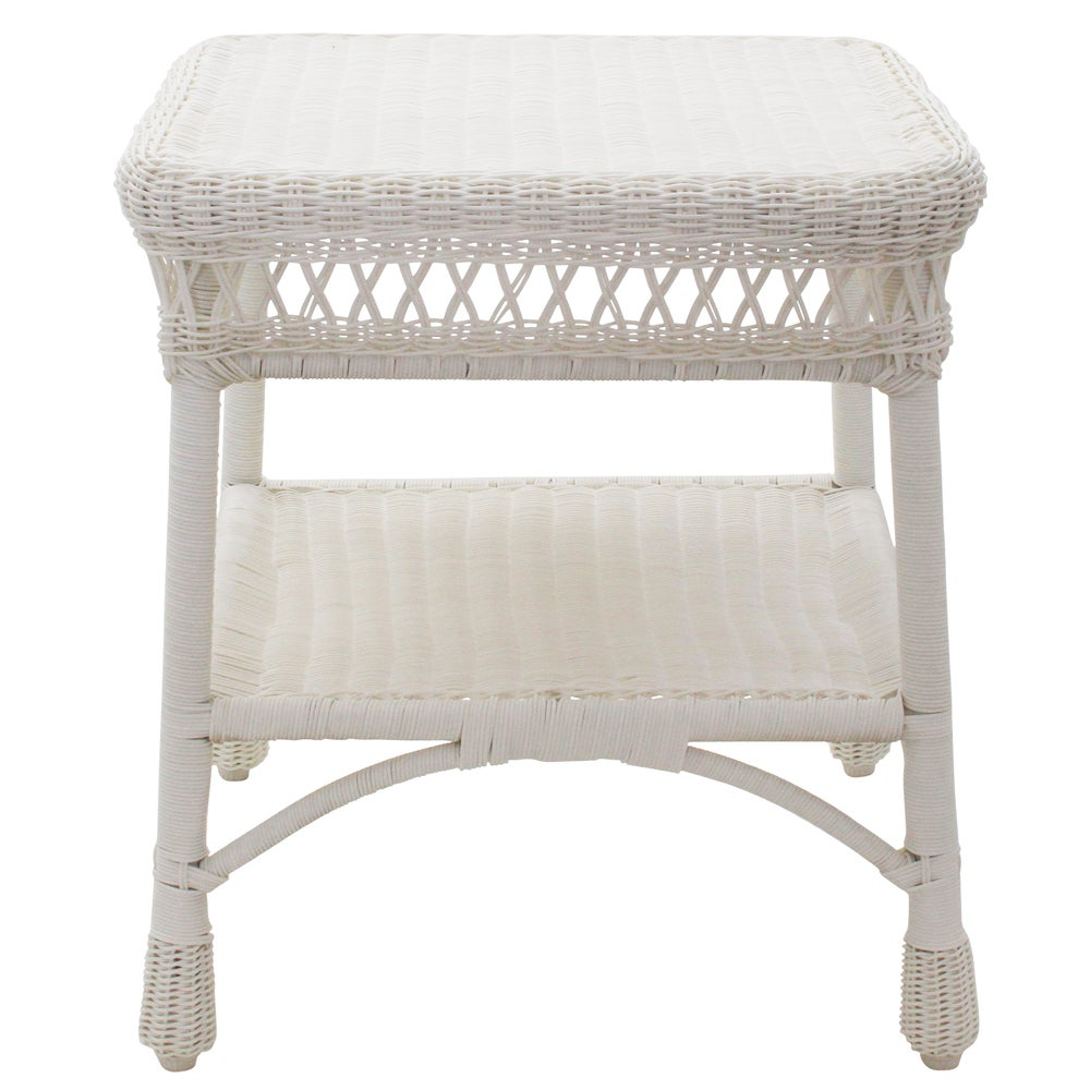 All Weather Wicker Paradiso White Patio Side Table