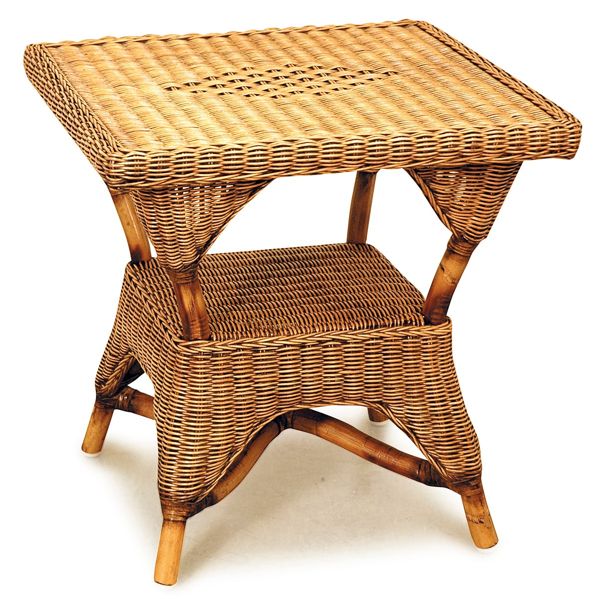 Bermuda Cane Square Side Table in Brown