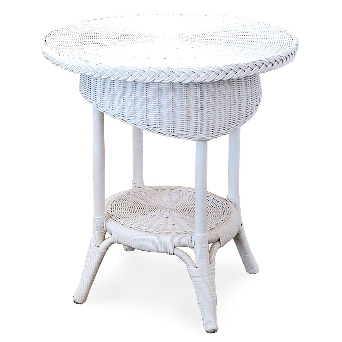Syracuse Cane Outdoor Round Side Table White 70cm
