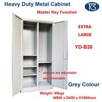 Extra Large Secure Metal Storage Cabinet w/ Lock in Grey