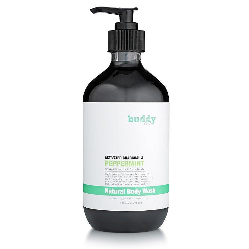 Buddy Scrub Charcoal & Peppermint Body Wash 500ml