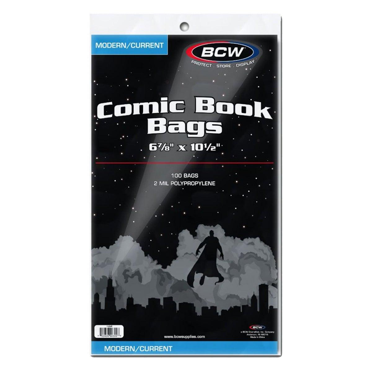 "BCW Comic Book Bags Current Comics 6"" 7/8 x 10"" 1/2 100pc"