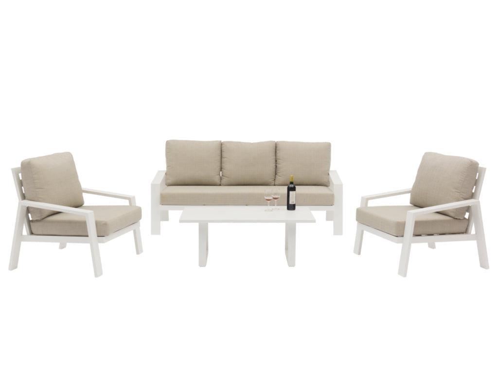 Bondi 4-Piece Aluminium Outdoor Lounge Setting — White