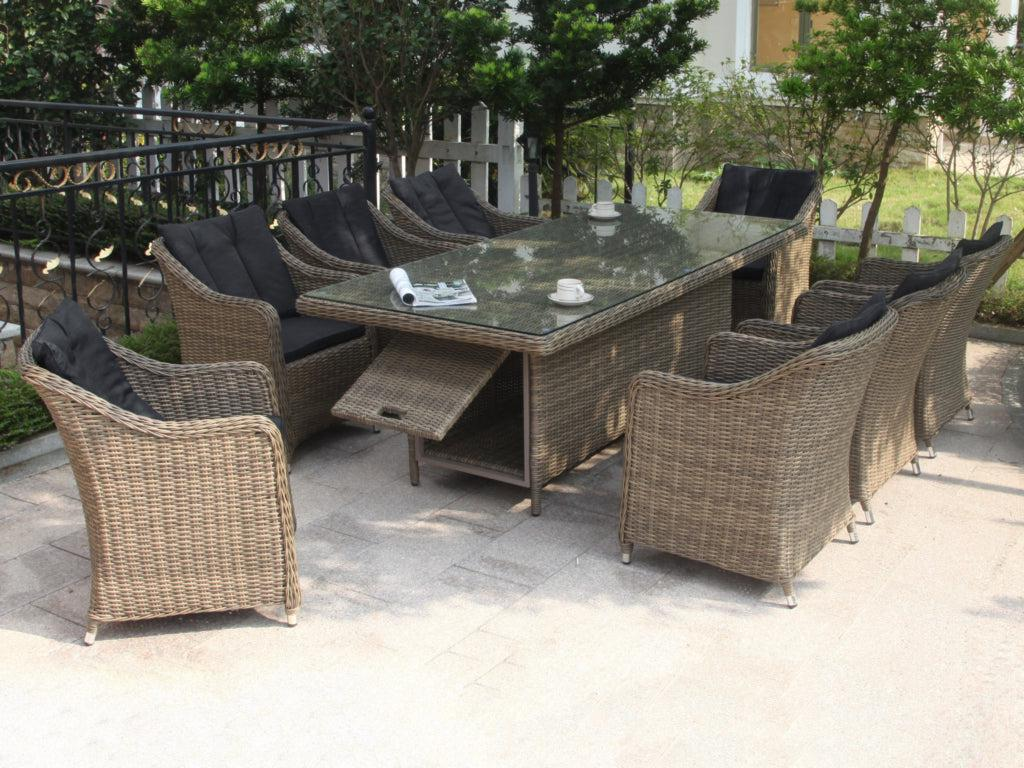 Liverpool 9-Piece Wicker Outdoor Dining Setting (Rectangle)