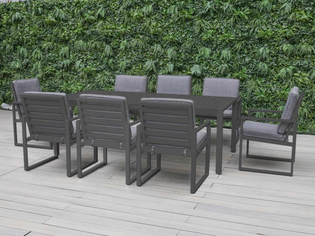 Manly 9-Piece Aluminium Outdoor Dining Setting — Charcoal