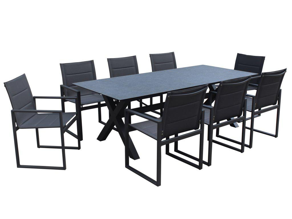 Redcliffe 9-Piece Aluminium Outdoor Dining Setting — Charcoal