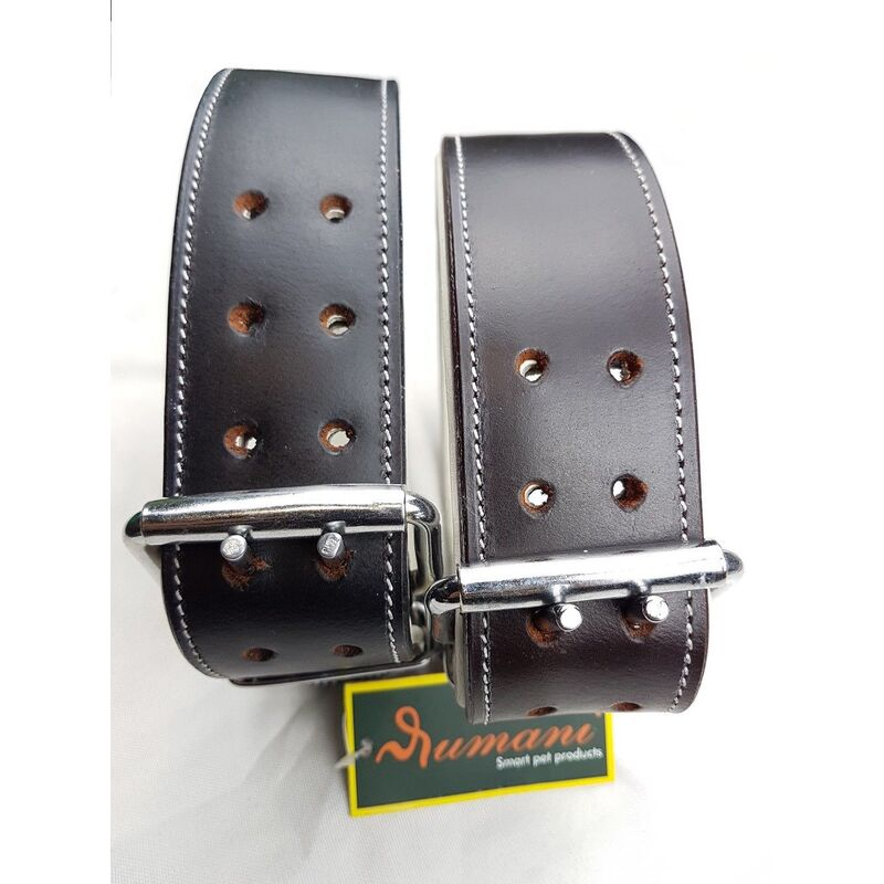 Genuine Premium OIL PULL-UP Leather DOG COLLAR BY RUMANI With White Padding