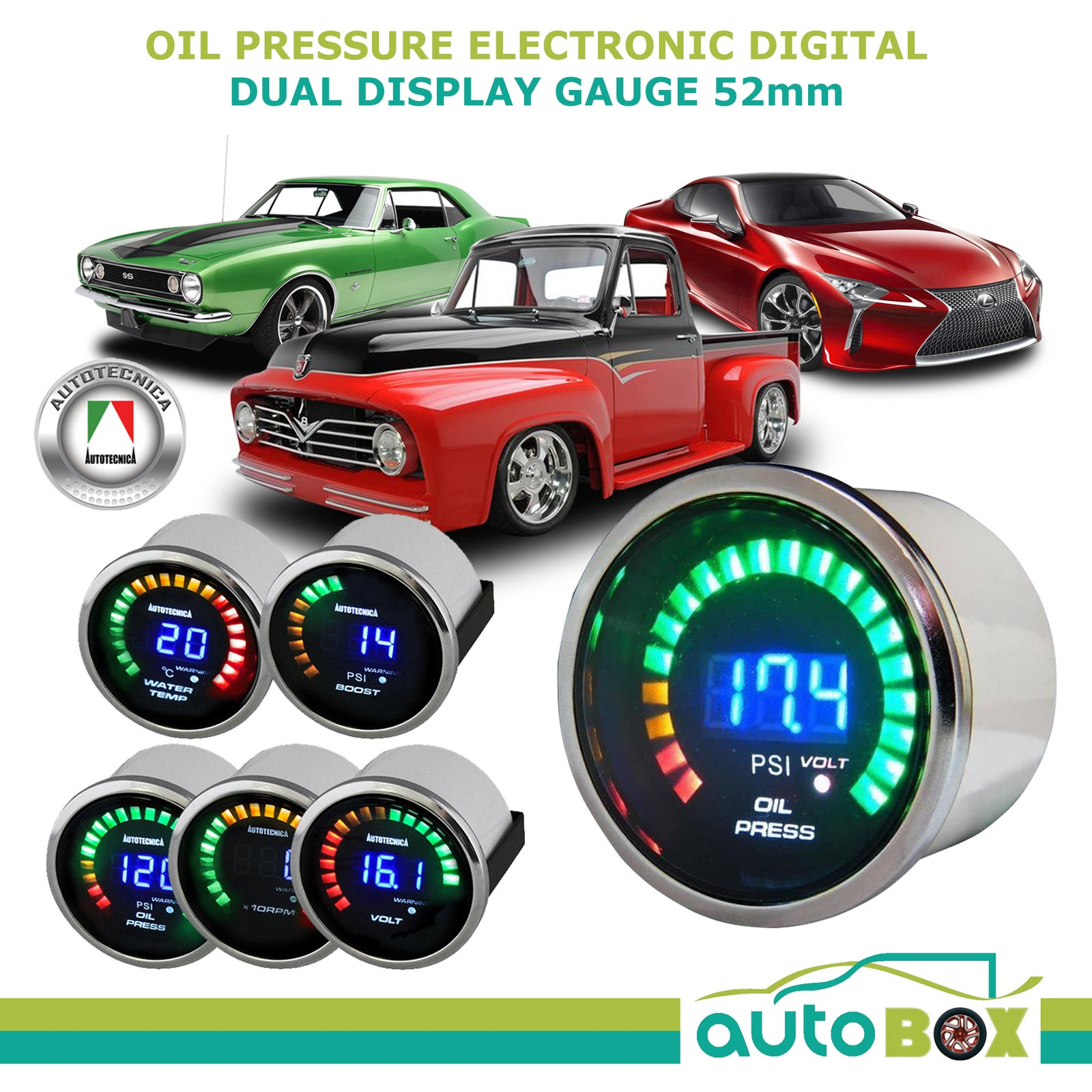 Autotecnica Electronic Digital Dual Display Oil Pressure Gauge 52mm 12 Volt