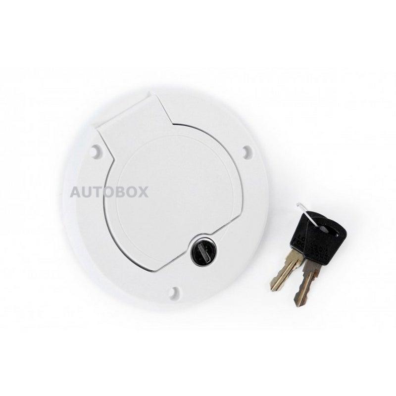 Caravan White Lockable Water Filler Inlet Left Hand Hinge Camper Motorhome Out