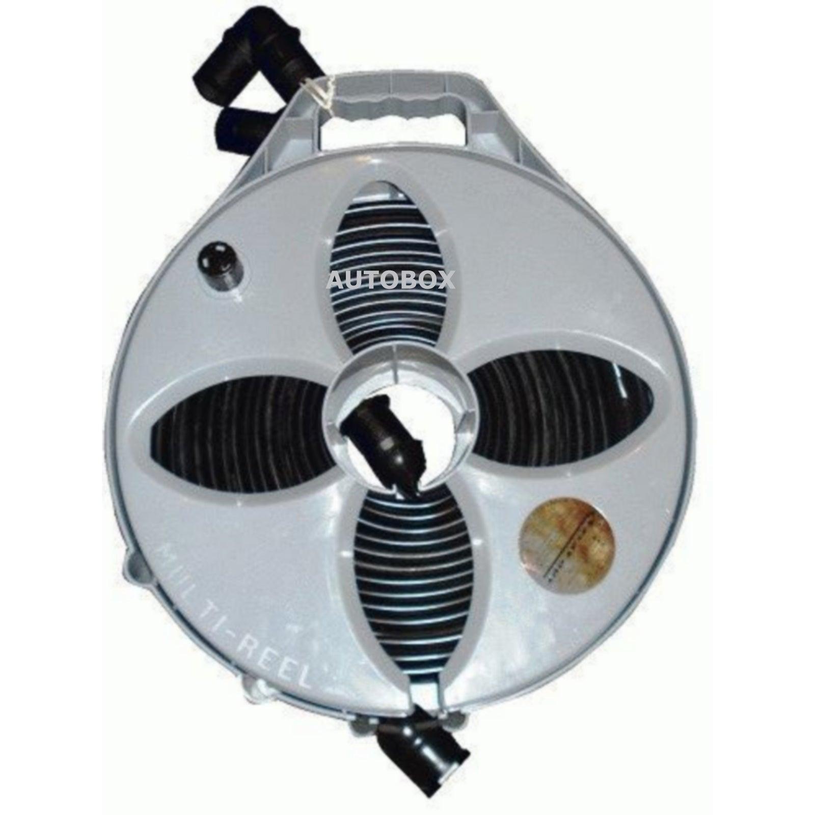 Flat Out 6M 25mm Grey Water Waste Sullage Hose & Reel Caravan Motorhome Camper