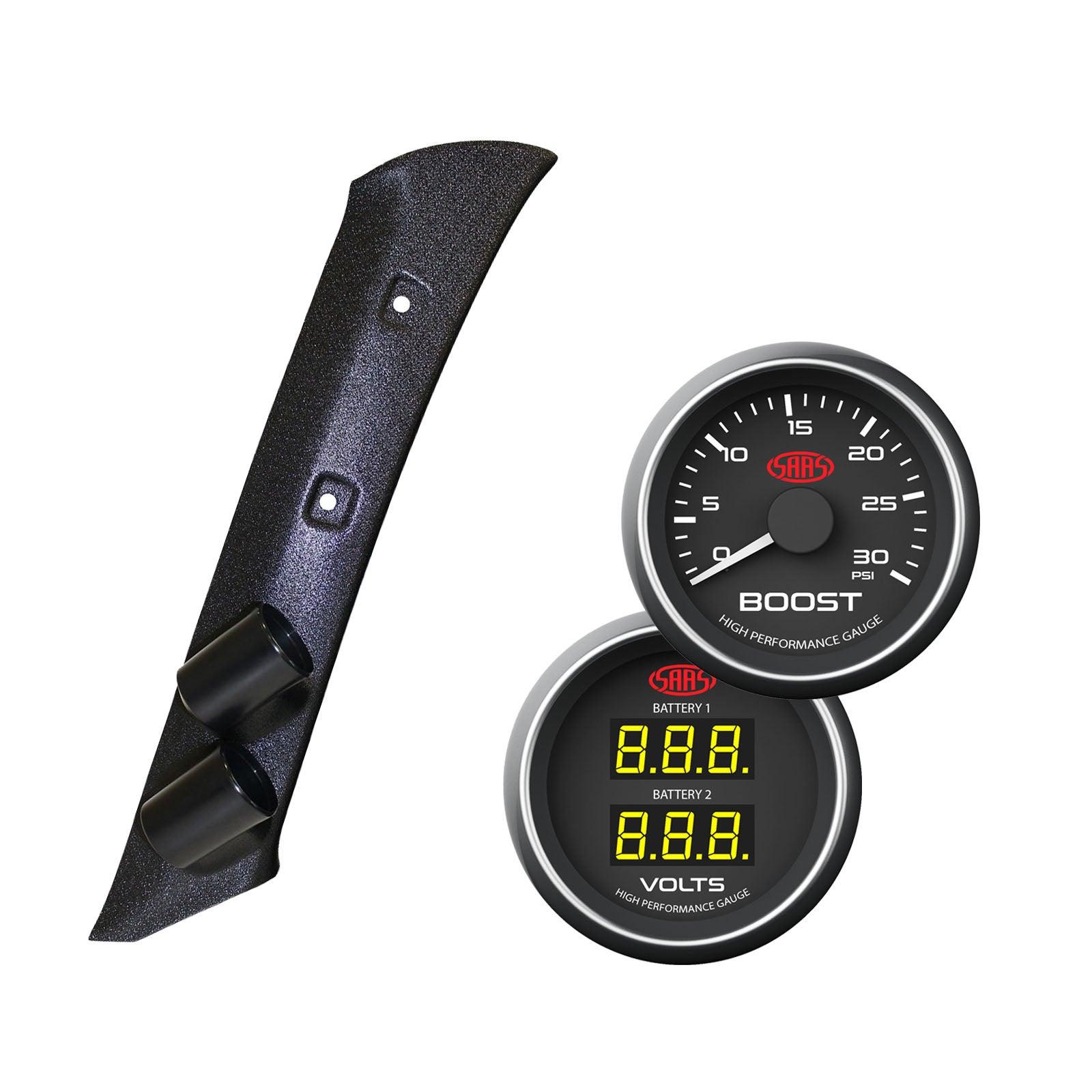 Pajero NM-NP 2000-2006 Pillar Pod w/ Black Diesel Boost & Dual Volts Gauge