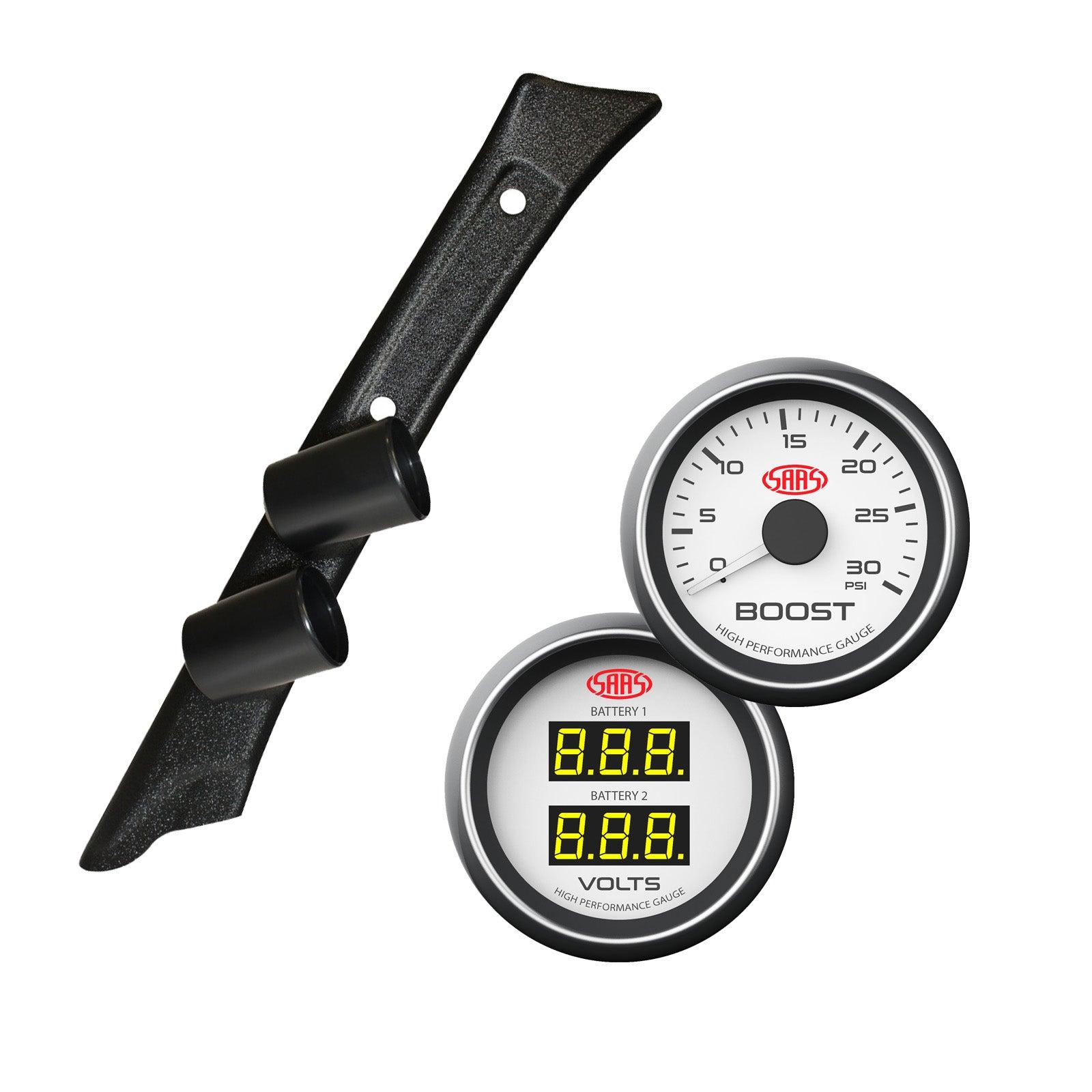 Pillar Pod w/ White Diesel Boost & Dual Volts Gauge for Landcruiser 80 1990-1998