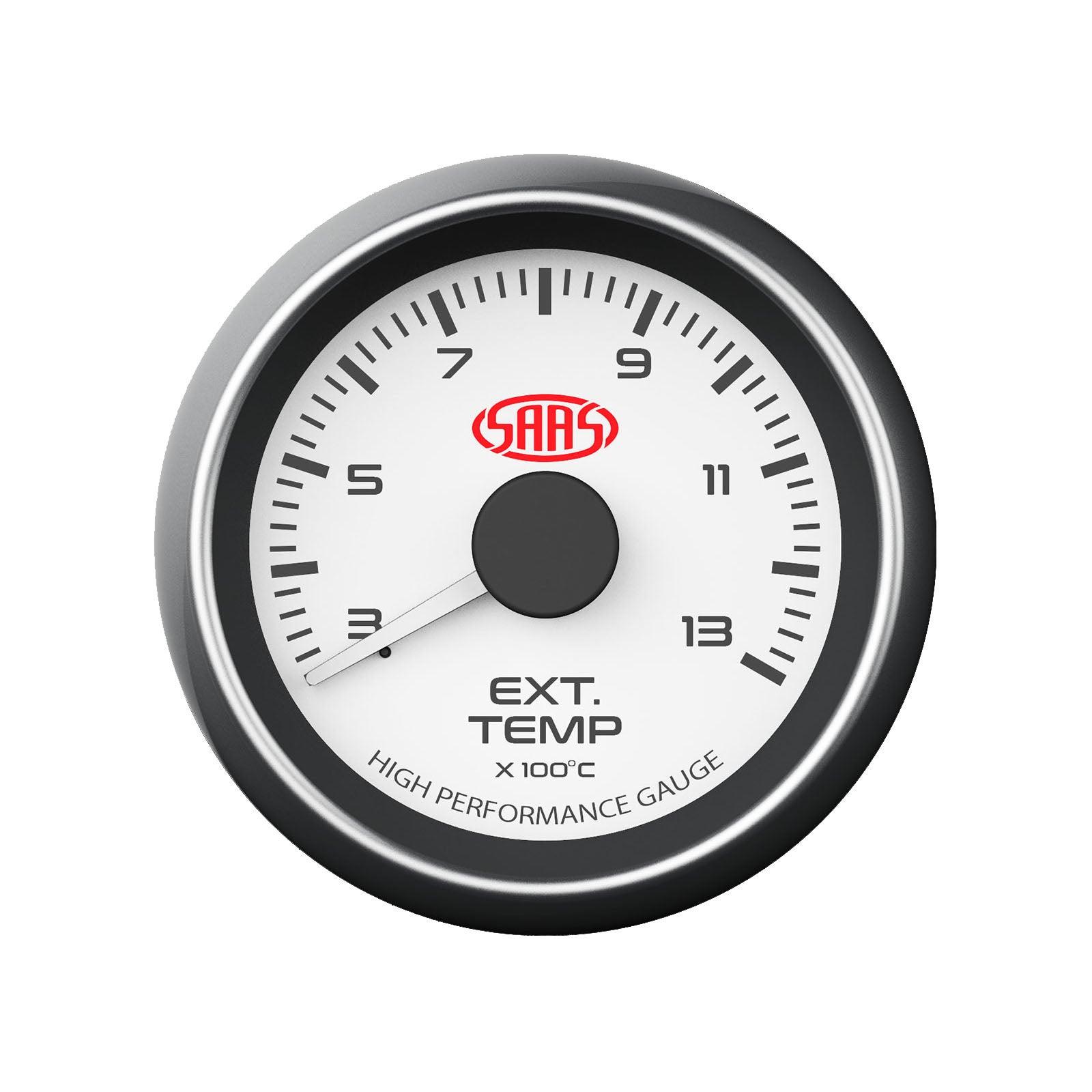 SAAS Exhaust Temperature Gauge 300-1300 Deg White Face Temp Probe EGT 52mm