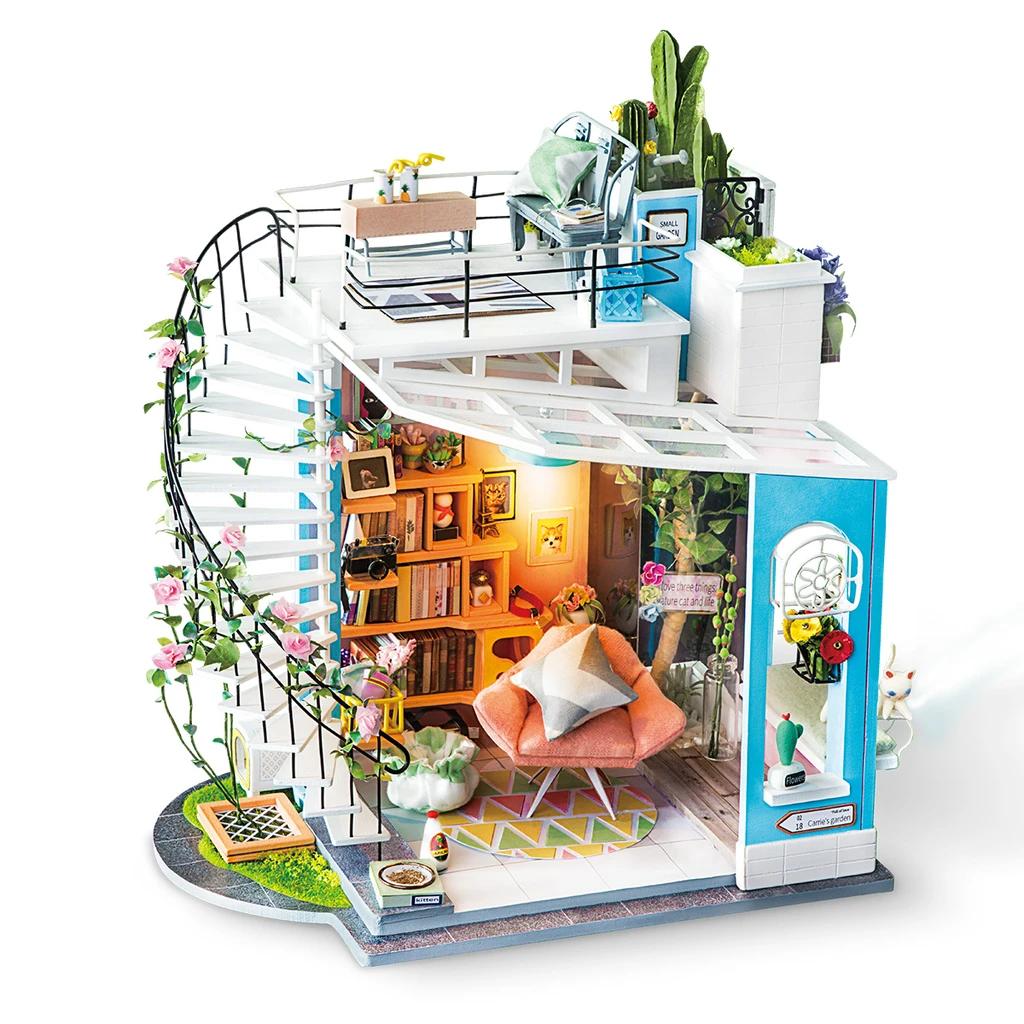 Robotime New Arrival - Dollhouse Series - Dora's Loft with LED ligh