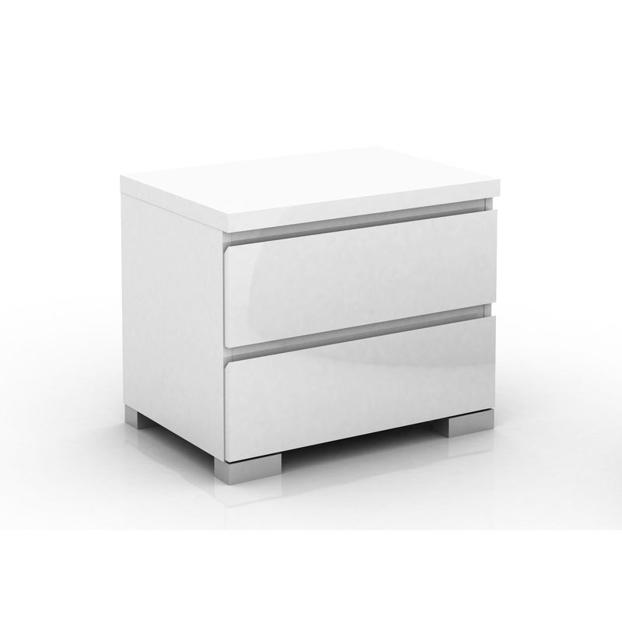 Elara 2 Drawer Bedside Table in High Gloss White