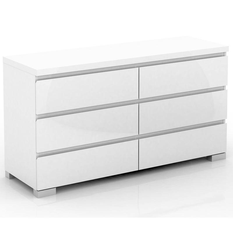 Elara 6 Drawer Lowboy Chest In High Gloss White Buy Tallboys Dressers 208296