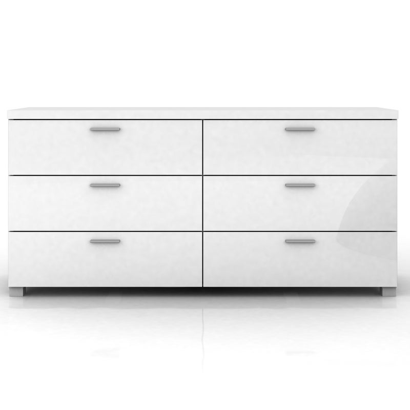 Elisha 6 Drawer Lowboy Chest In High Gloss White Buy Tallboys Dressers 208292