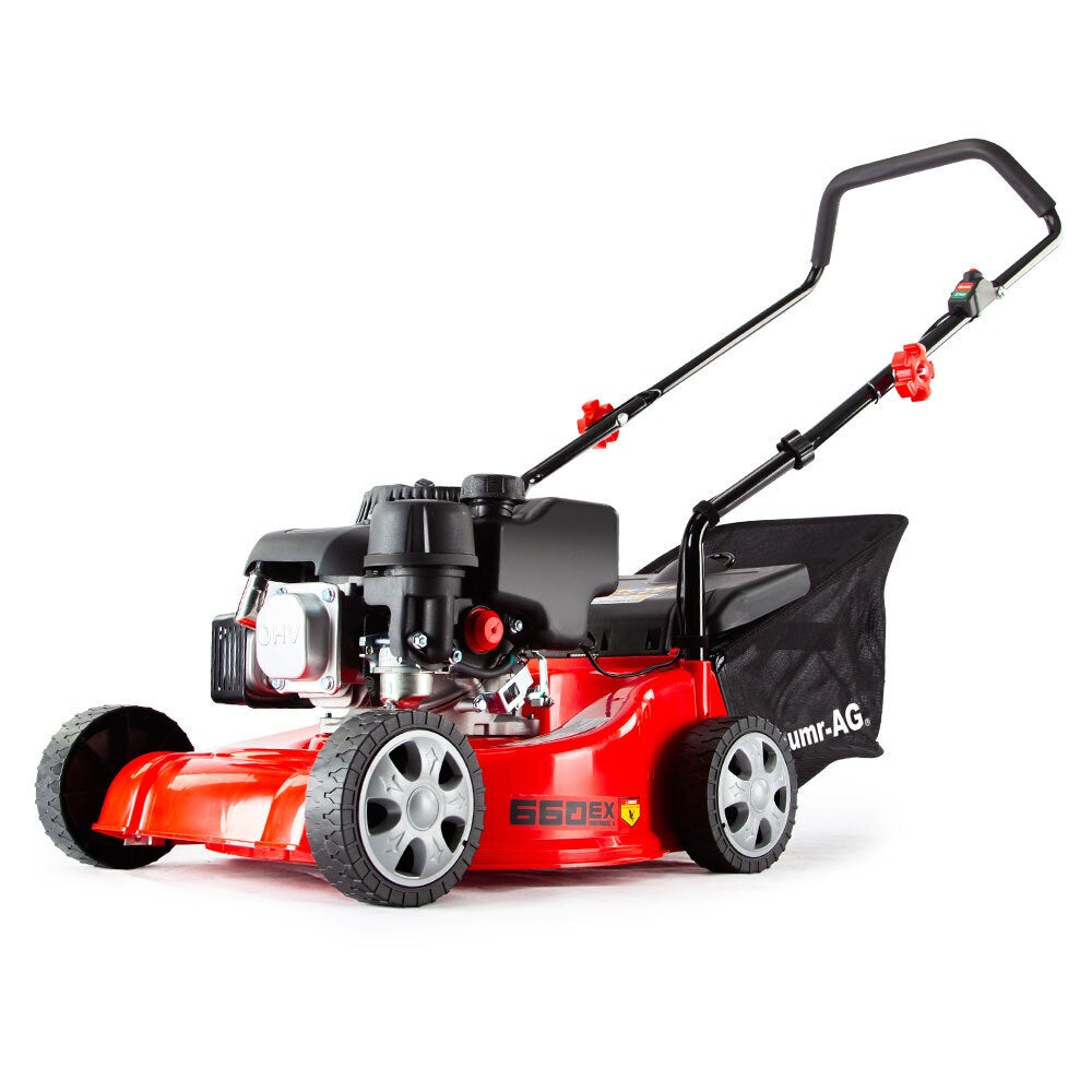 Baumr-AG Lawn Mower 16 Inch Petrol Powered Hand Push Engine Lawnmower Catch 4 Stroke
