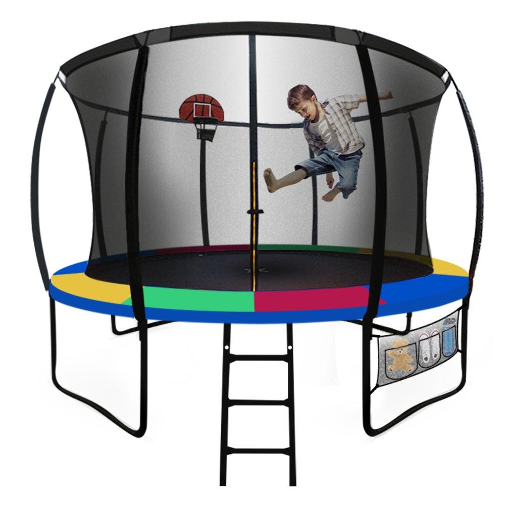 UP-SHOT 10ft Round Kids Trampoline Curved Pole Basketball Set Black Multi-colour
