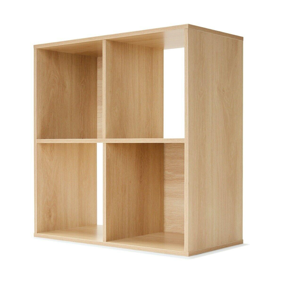 4 Cube Wooden Gloss Storage Bookshelf Bookcase Display Unit Natural Oak Look