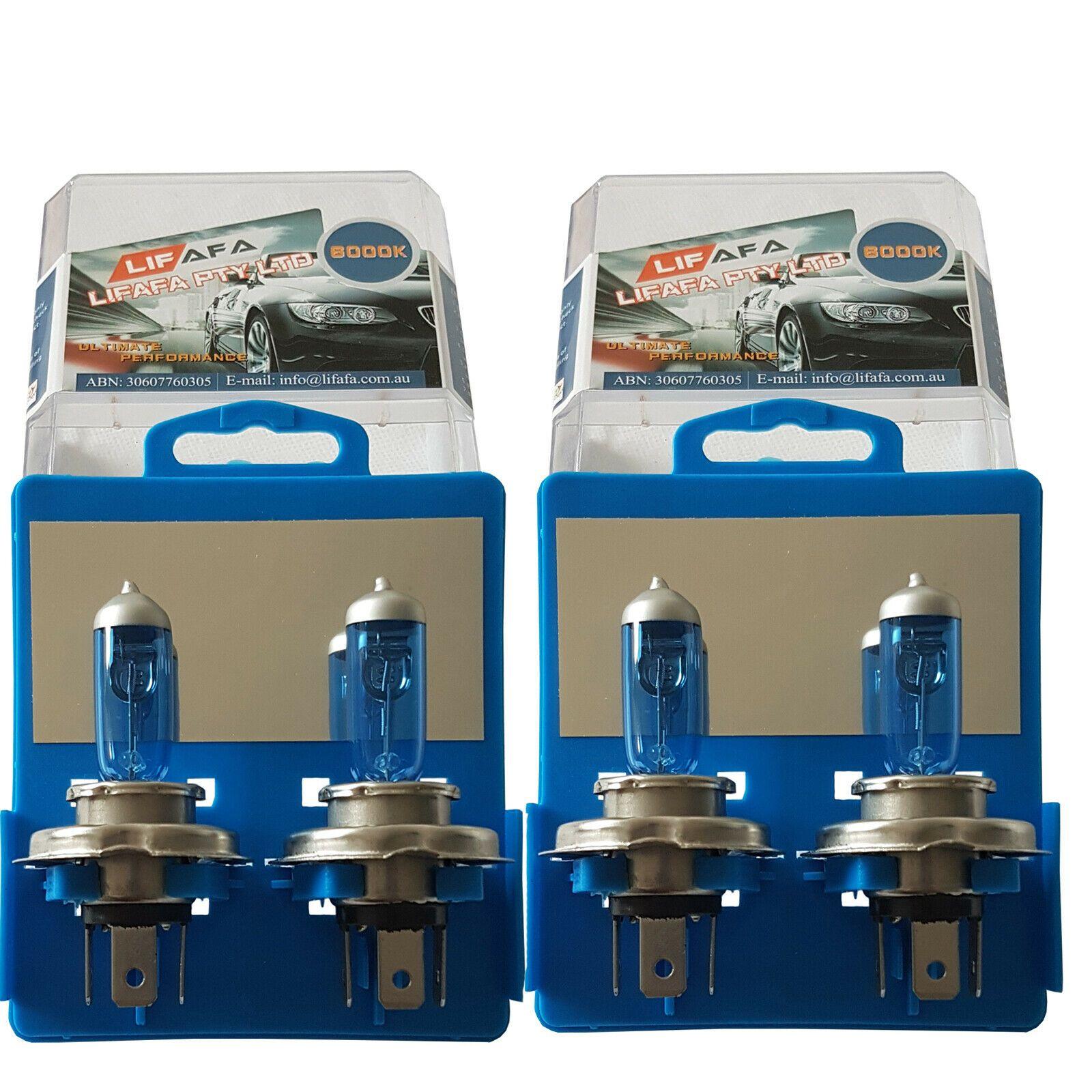 4x H4 55W 12V 5000K Head Light Globes Car Light Bulbs Halogen XENON Super White