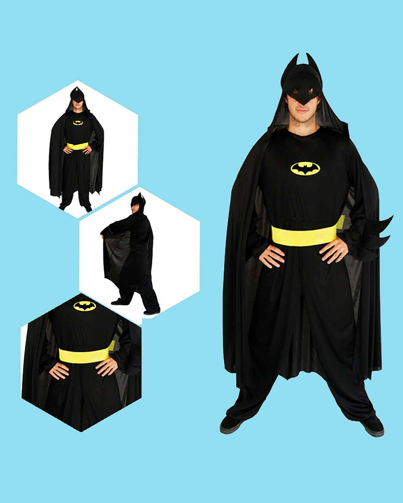 New Adult Batman Superhero Costume Dark Knight Cosplay Fancy Dress Party Outfit