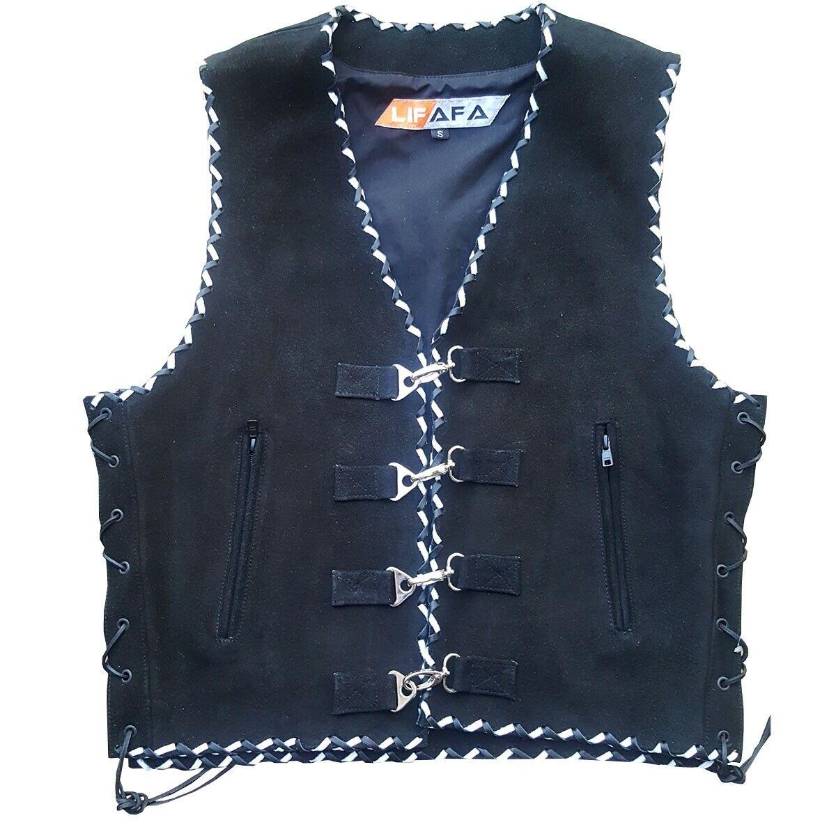 Mens Buckle Premium Suede Vests Leather Braided Waistcoat Biker Rider Size S