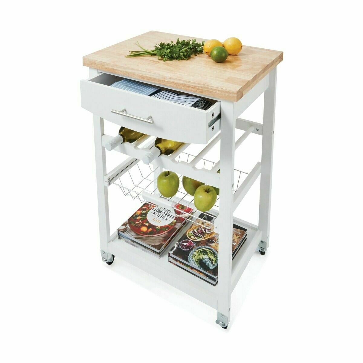 New Wooden Kitchen Utility Trolley Cart Drawer 2 Shelves Cabinet Rack White