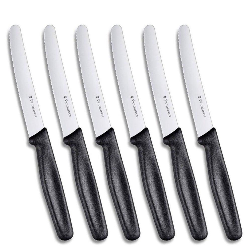 VICTORINOX STEAK KNIVES SET OF 6 ERGONOMIC SERRATED ROUND TIP BLACK COLOUR SAVE