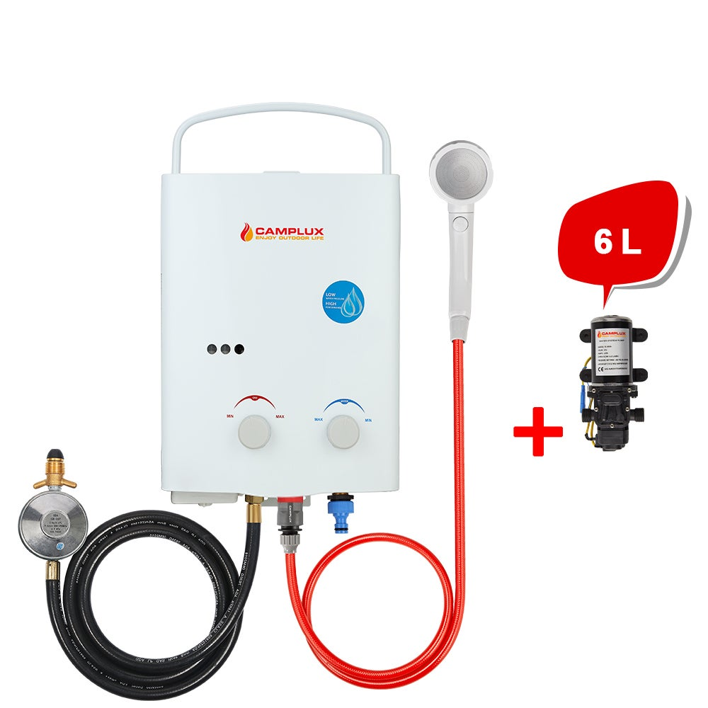 CAMPLUX Portable Gas Hot Water System Outdoor Camping 6L Pump Caravan Instant