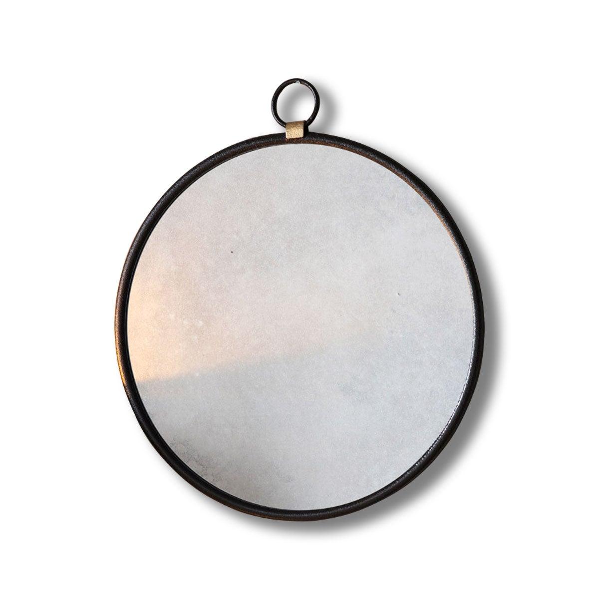 Bisque Black Round Wall Mirror 70cm x 61cm