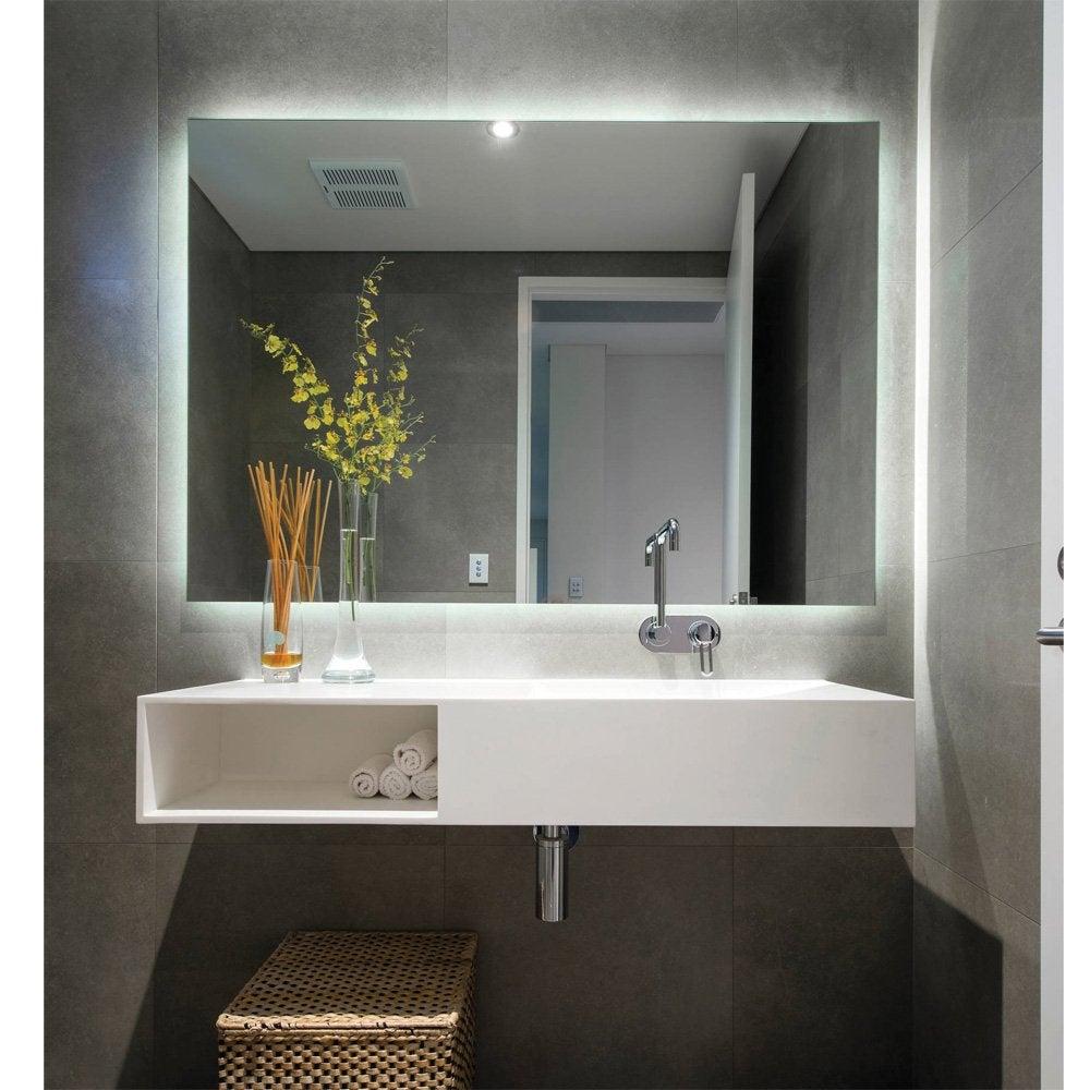 Rear Soft Glow LED Backlit Bathroom Mirror - (90 x 75cm) or (120 x 80cm)