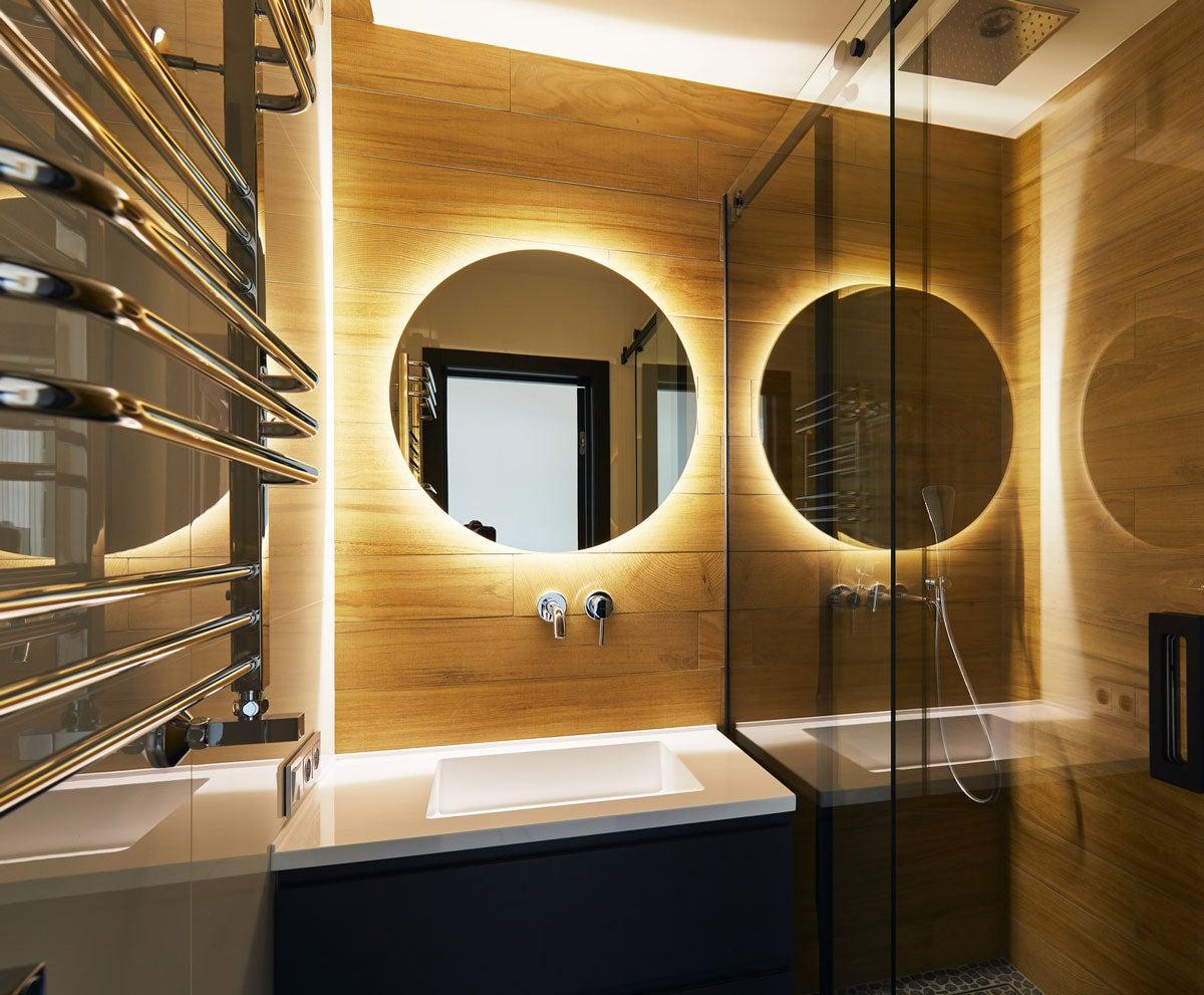 Rear Soft Glow LED Backlit Round Bathroom Mirror Warm/Cool Light - (60cm) or (90cm)